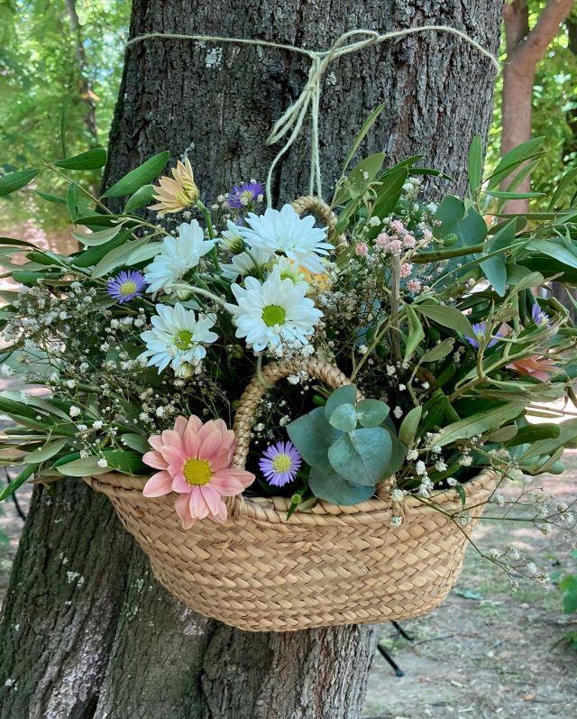 "DÍA 4 🌸💍 de los ""6 días para descubrir una Boda"" . . Cestos de flores para decorar el bosquecillo 🌳🌸🤍 . . #bodas #bodas2021 #wedding #flores #flowers #naturaleza #nature #bodaalairelibre #floristeria #floristeriaacacia #tafalla #navarra"